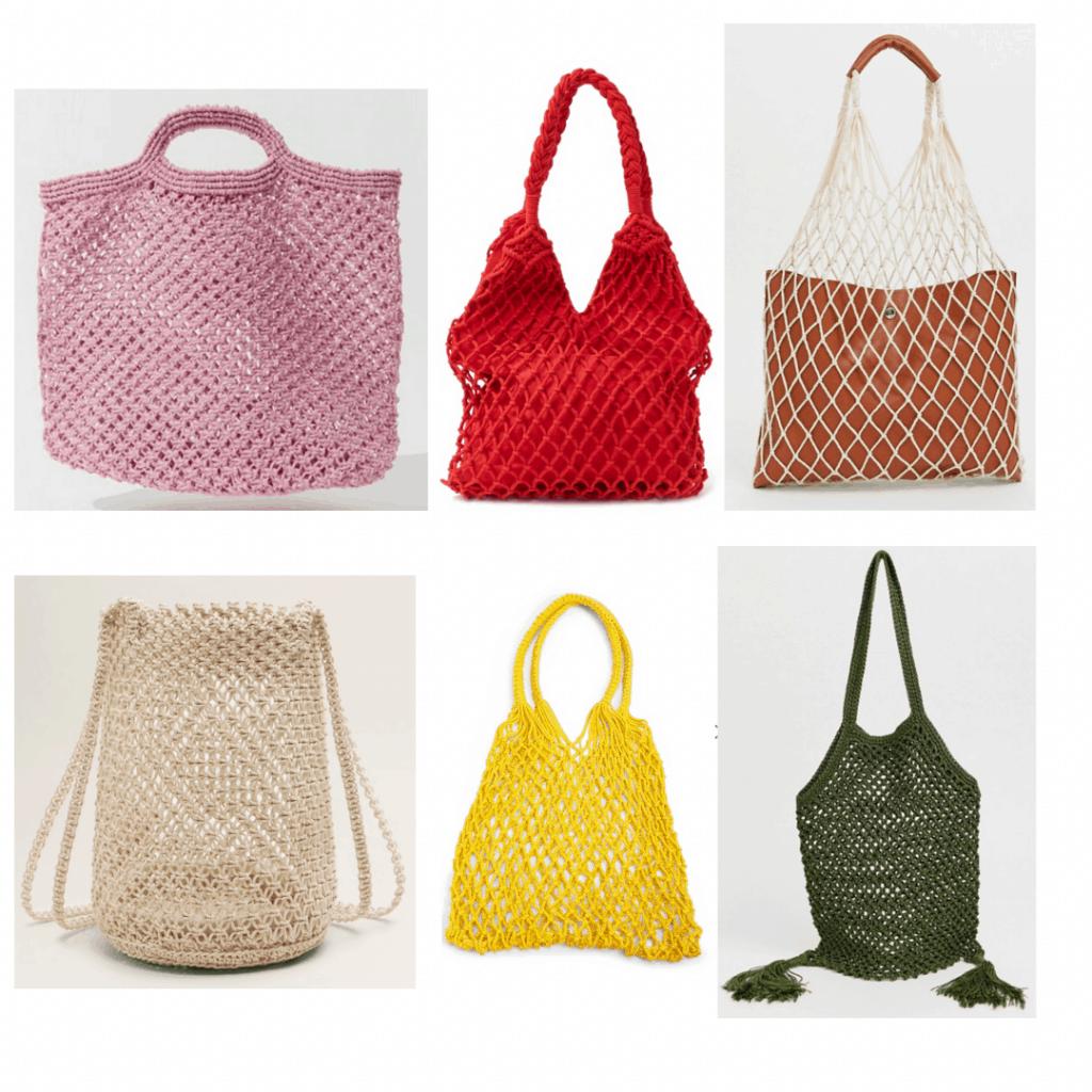 Netted Bags: purple beach bag, red handbag, netted shopper bag, braided net bag, yellow handbag, green fringe bag