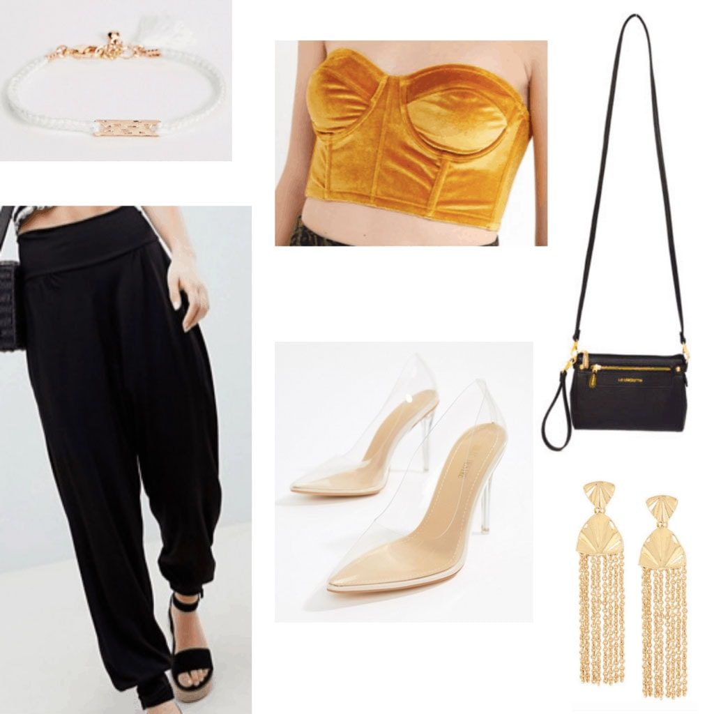 Harem pants outfit for night with velvet bustier, clear heels, chandelier earrings