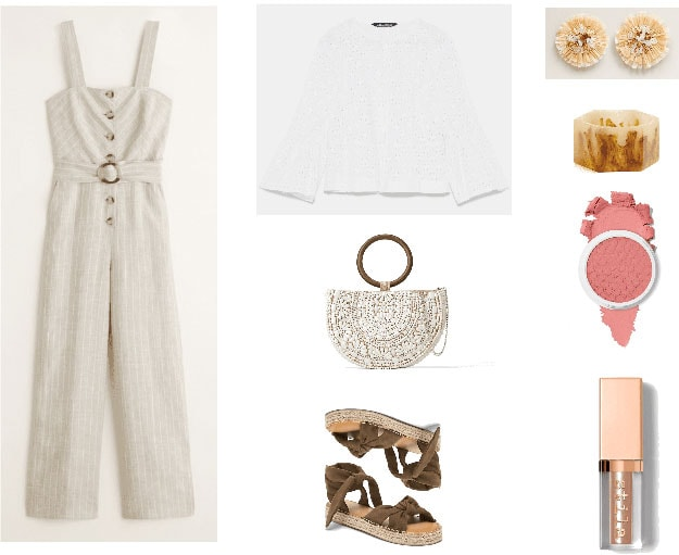 Sleeveless button-front belted jumpsuit in beige with thin white pinstripes, white embroidered eyelet jacket, beaded semi-circle bag with round wooden handle and chain crossbody strap, flatform espadrille tie-up sandals, beige beaded straw-like flower-shaped earrings, beige and brown resin bangle, pale pink blush, pale gold shimmery liquid eyeshadow