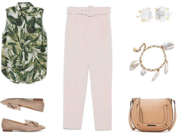 Sleeveless palm-leaf-printed blouse, beige pointed-toe loafers with tassels, pale pink pleated trousers with belt, faceted mother-of-pearl stud earrings, gold chain bracelet with dangling baroque pearls, beige crossbody bag with whipstitching