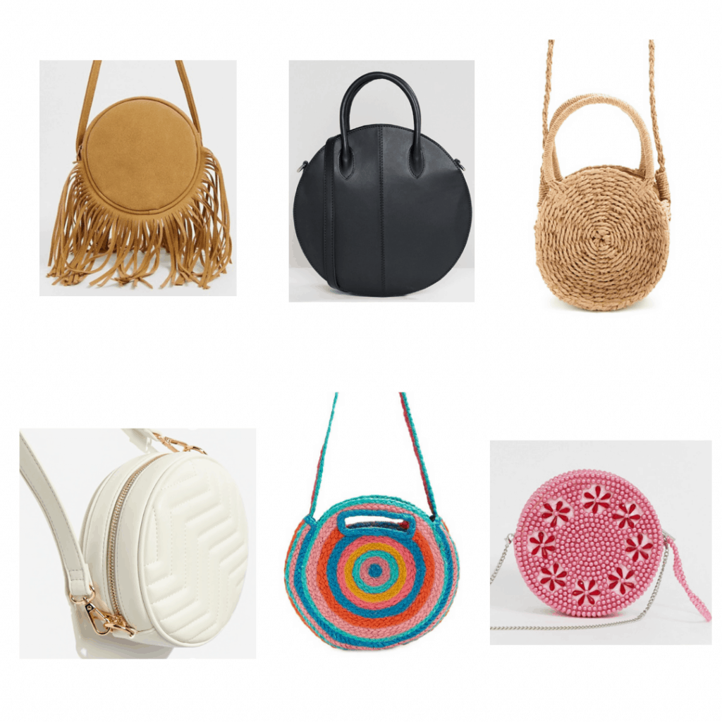 Circle Bags: brown fringe circle bag, large black circle bag, straw circle bag, quilted round crossbody, rainbow straw circle bag, beaded circle bag