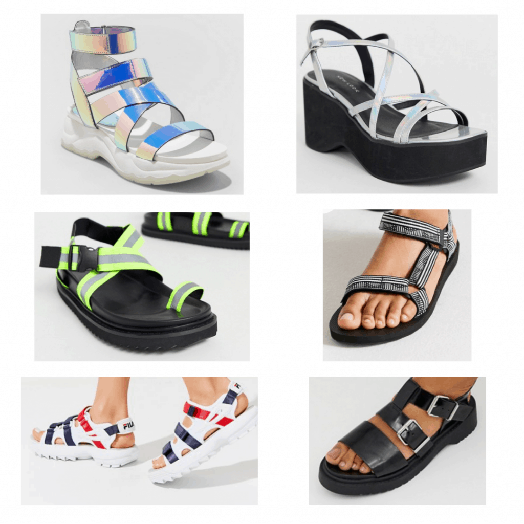 Chunky/Sporty Sandals: Iridescent sandals, Strappy platform sandals, neon toe strap sandals, teva sandals, fila sandals, flat buckle sandals