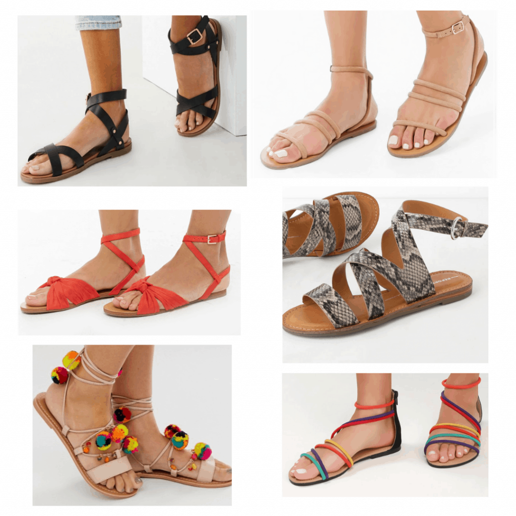 Strappy Sandals: Black sandals, nude sandals, red tie sandals, snakeskin sandals, pom pom sandals, rainbow sandals