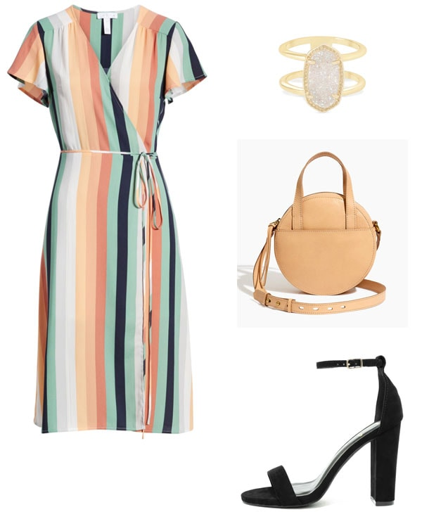 Summer wedding outfit for a church wedding - striped wrap dress with short sleeves, simple ring, circle bag, chunky block heels