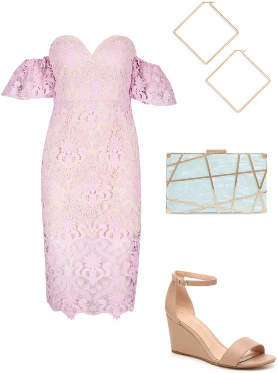 Summer wedding outfit for a garden party: Pink lace dress, pale blue statement box clutch, square earrings, nude wedges