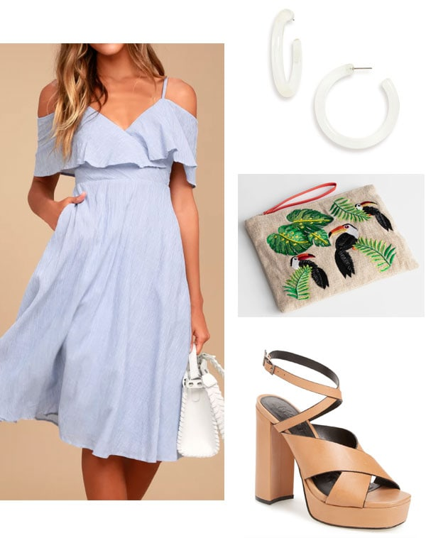 Summer wedding outfit for a beach wedding or destination wedding: Ruffle dress in baby blue, hoop earrings, tucan clutch, brown strappy platform heels