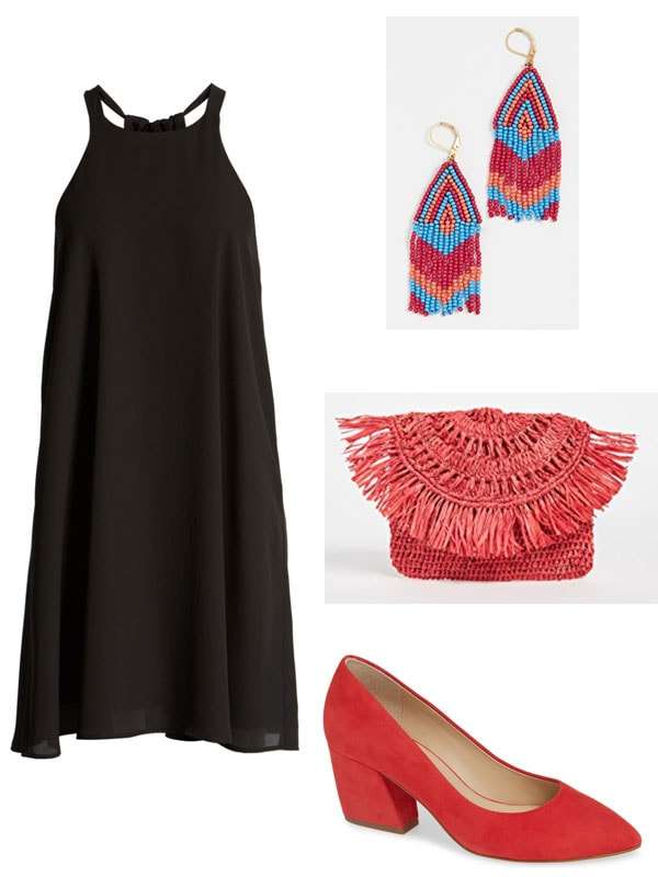 Summer wedding outfit for cool cocktail hour wedding: Little black dress, funky earrings, colorful clutch, red shoes