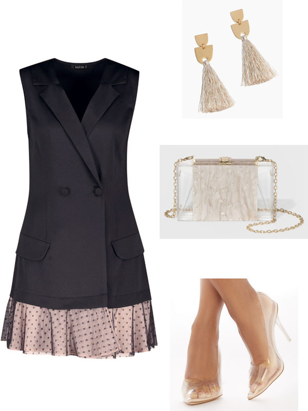 Trendy summer wedding outfit for a posh wedding: Black and nude polka dot blazer, tassel earrings in beige, clear clutch, clear heels