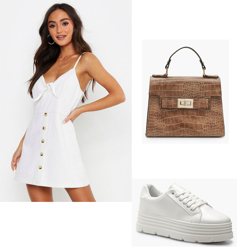 Summer outfit combos to get that Instagram girl style: Girly mini dress plus white sneakers plus mini bag