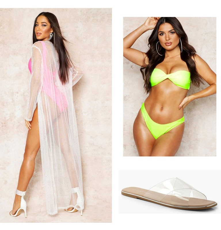 Outfit inspired by Boohoo in paradise influencer summer vacation -- Dramatic sheer beach cover up, neon bikini, clear slides
