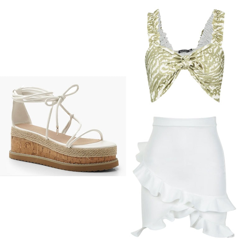 Vacation outfit inspired by Instagram girls -- green animal print crop top, white frilly skirt, espadrille flatforms