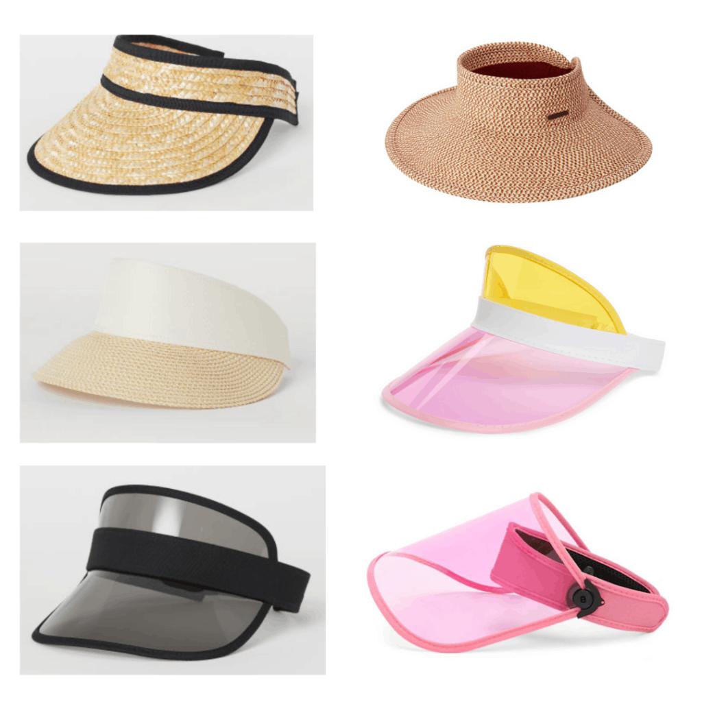 Visors: Straw Fedora, Wide Brim Hat, Elastic Stap Visor, Color Block Visor, Transparent Visor, Pink Vinyl Visor
