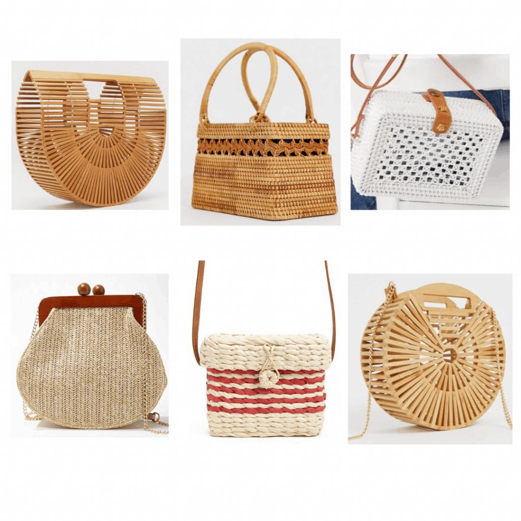 Summer 2019 bag trends -- Wicker bag: Wood clutch, wood picnic bag, white picnic crossbody, wicker crossbody, wicker striped crossbody, wood crossbody