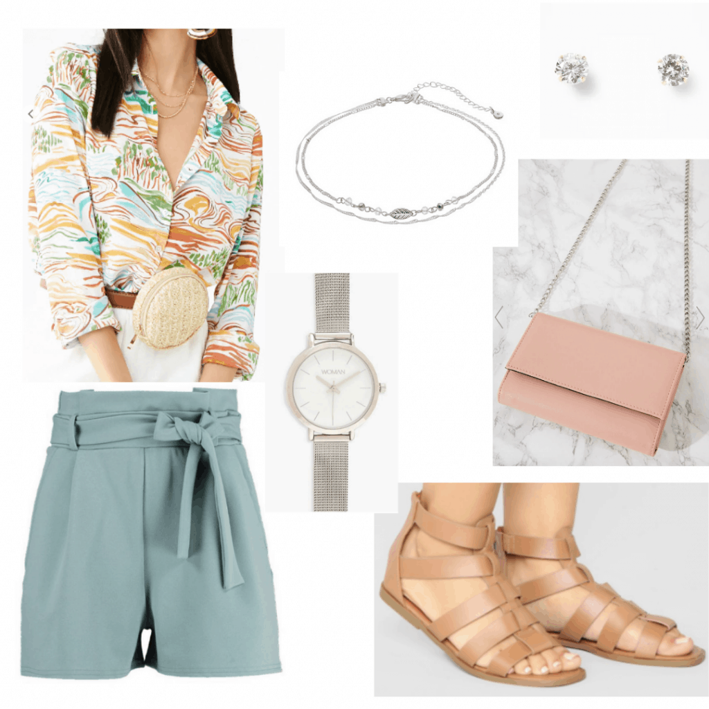 What to wear to a carnival - outfit idea with printed button down shirt, tie waist shorts, strappy sandals, jewelry, chain strap bag
