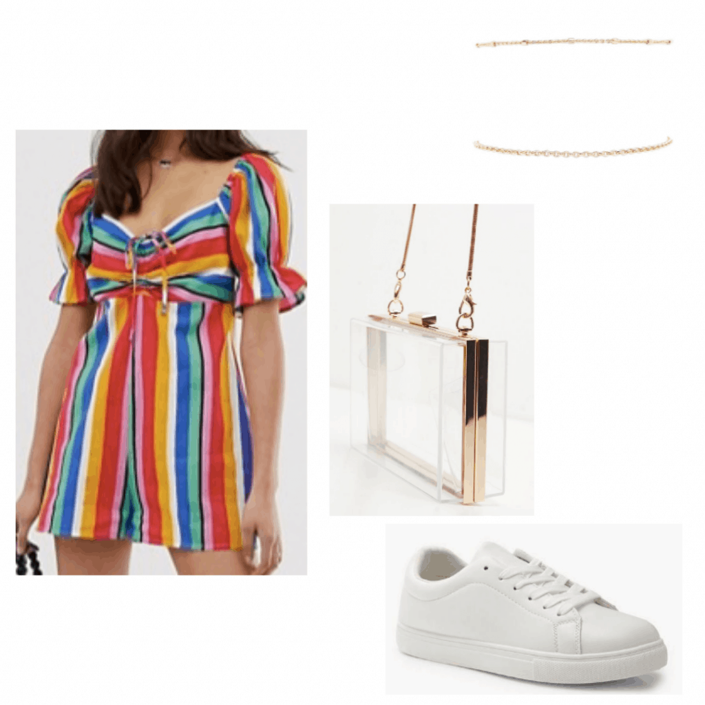 Outfit idea for a carnival with brightly colored romper, clear bag, sneakers