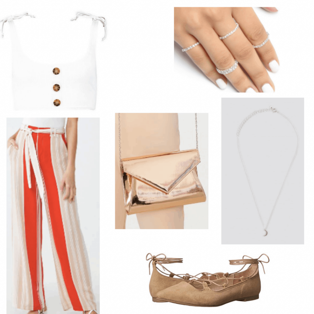 What to wear to a carnival with vertical striped pants, white crop top, metallic bag, lace up flats
