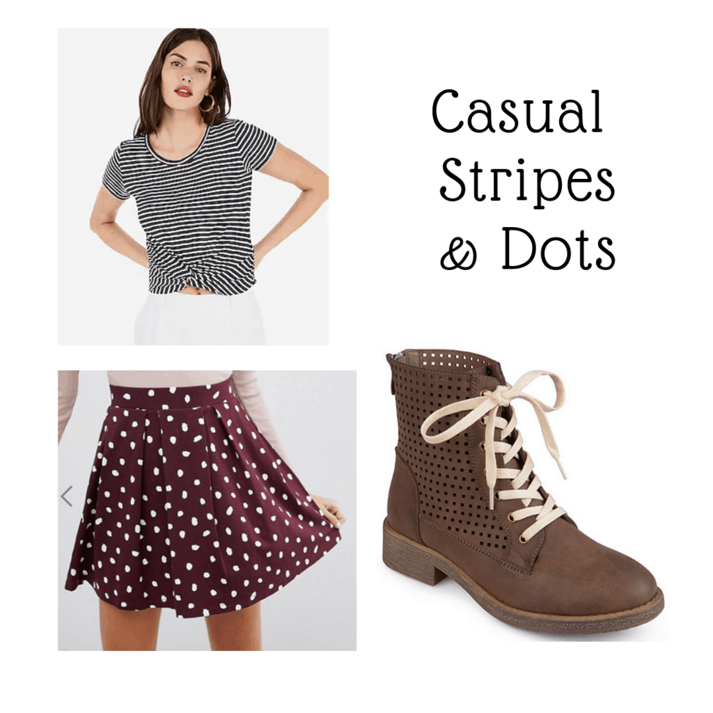 outfit panel with striped crop tee, brown boots, and polka dotted skirt
