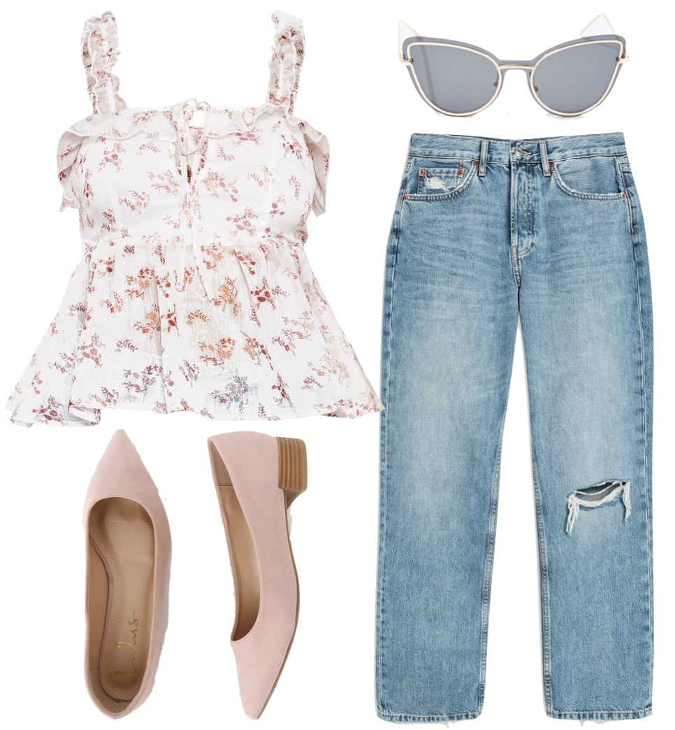 Elle Fanning Outfit: floral print ruffle tank top, straight leg jeans, blush block heel pumps, and cat eye sunglasses