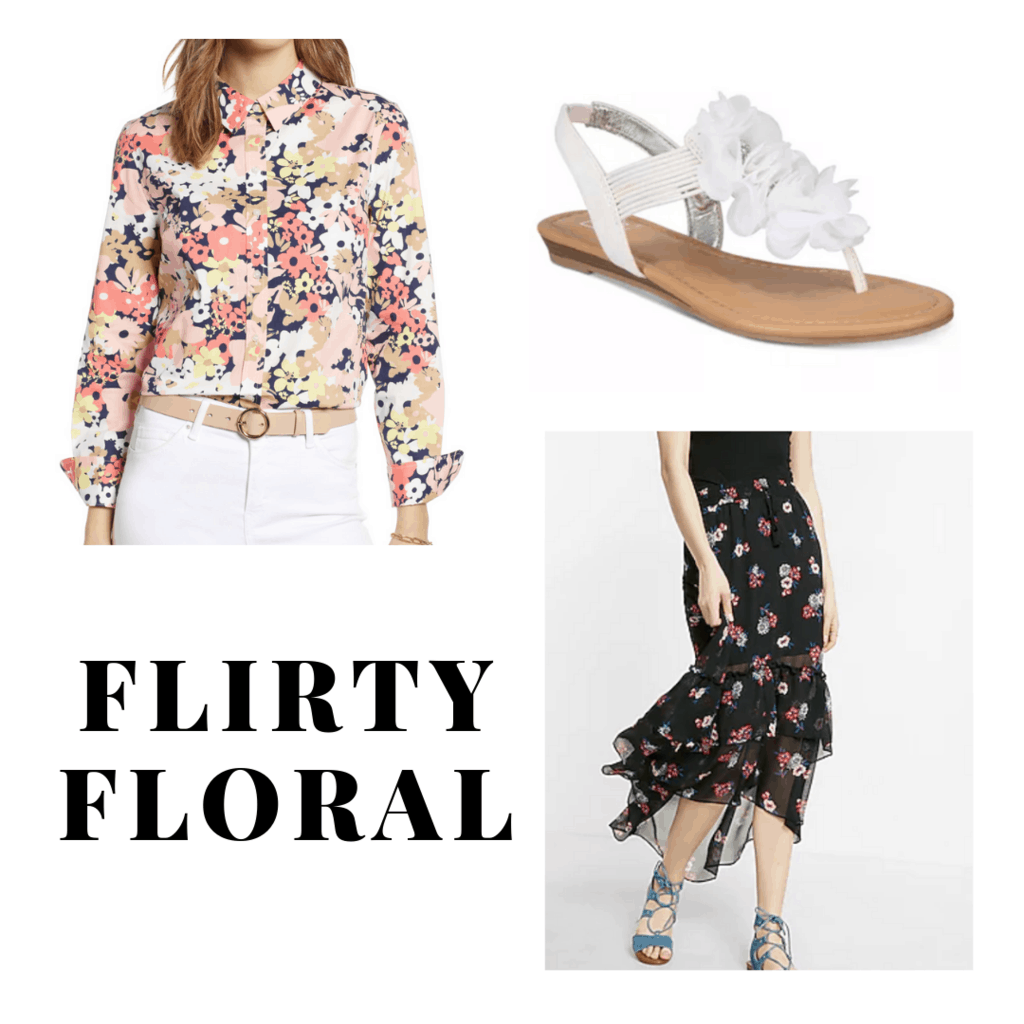 outfit panel with floral button up, floral maxi skirt, and white floral sandals