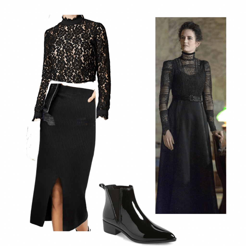 GENRE BREAKDOWN OUTFIT 3: VANESSA PENNY DREADFUL shirt, skirt and booties