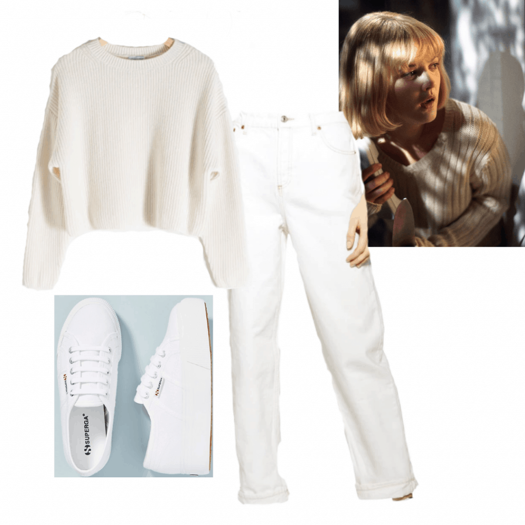 GENRE BREAKDOWN OUTFIT 1: CASEY FROM SCREAM white jeans, sweater and sneakers