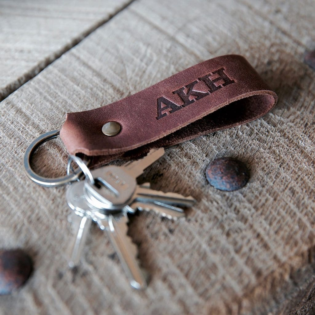 Brown leather key chain with
