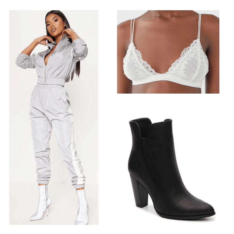 Silver tracksuit, white lace bralette, black boots