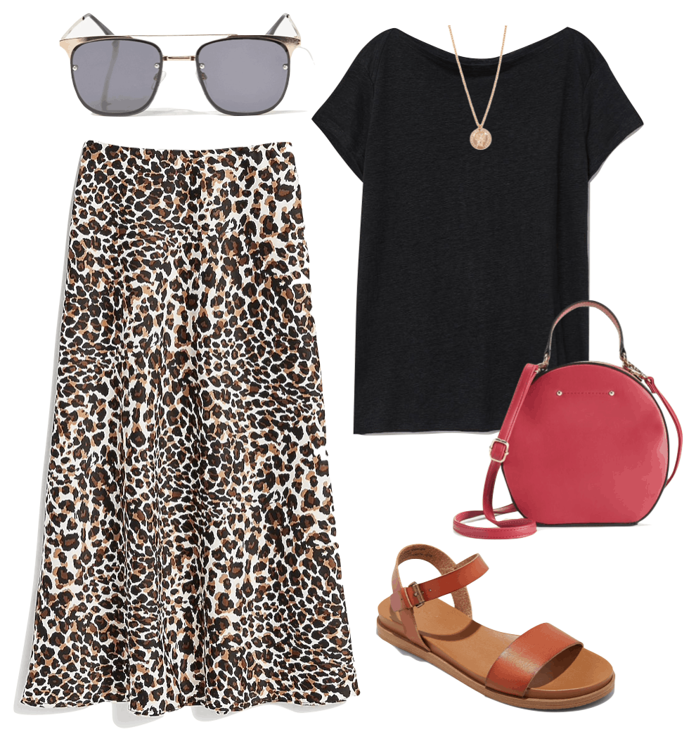 Jessica Biel Outfit: black t-shirt, gold pendant necklace, aviator sunglasses, leopard print midi skirt, round red handbag, and flat brown sandals