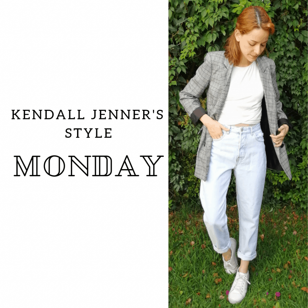 Kendall Jenner's Style Monday: blazer, jeans, crop top, sneakers.