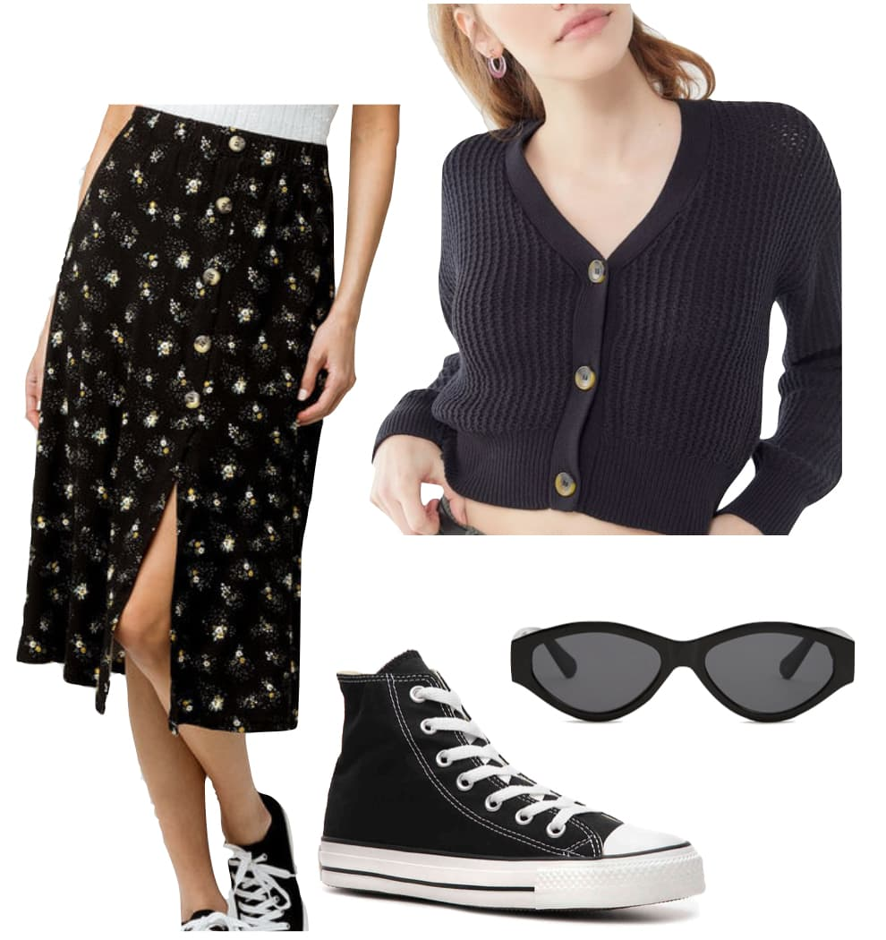 Kaia Gerber Outfit: black floral midi skirt, cropped black cardigan, black oval sunglasses, and black high top Converse sneakers