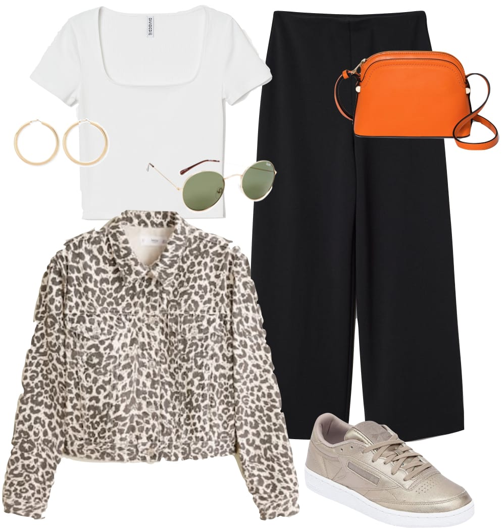 Lucy Hale Outfit: white crop top, black culottes, leopard print denim jacket, gold hoop earrings, round sunglasses, orange crossbody bag, and bronze sneakers