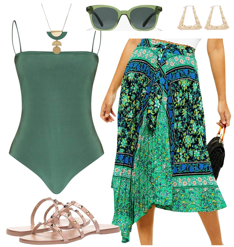 Rihanna Outfit: green spaghetti strap bodysuit, green paisley print midi skirt, square green sunglasses, gold doorknocker earrings, green and gold necklace, and embellished flat slide sandals