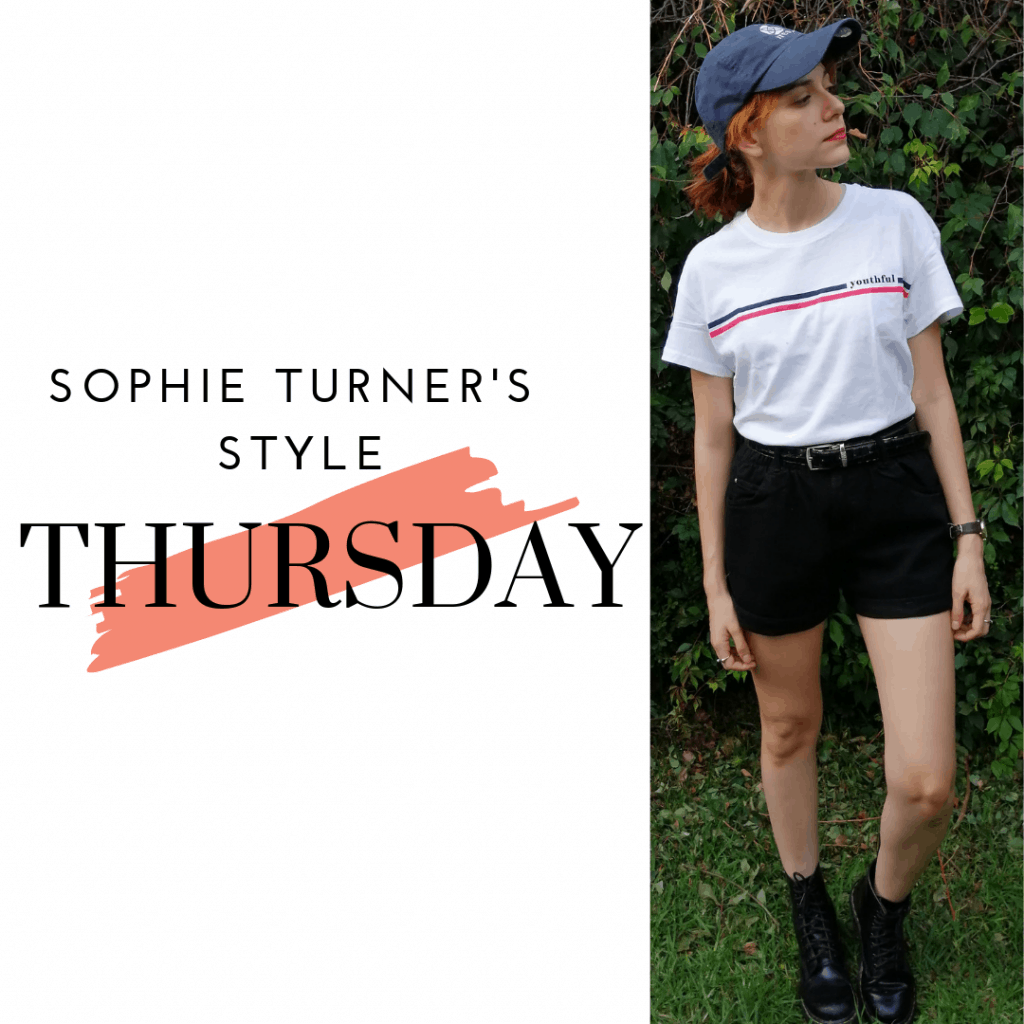 Sophie Turner's Style Thursday: t-shirt, denim shorts, boots and baseball cap.
