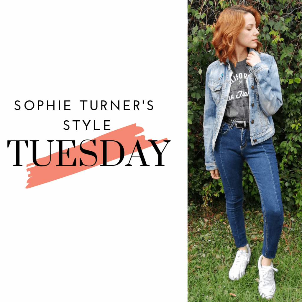 Sophie Turner's Style Tuesday: denim jacket, jeans, sneakers and t-shirt