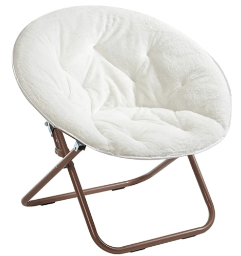 White fuzzy collapsible chair - best dorm furnishings for girls