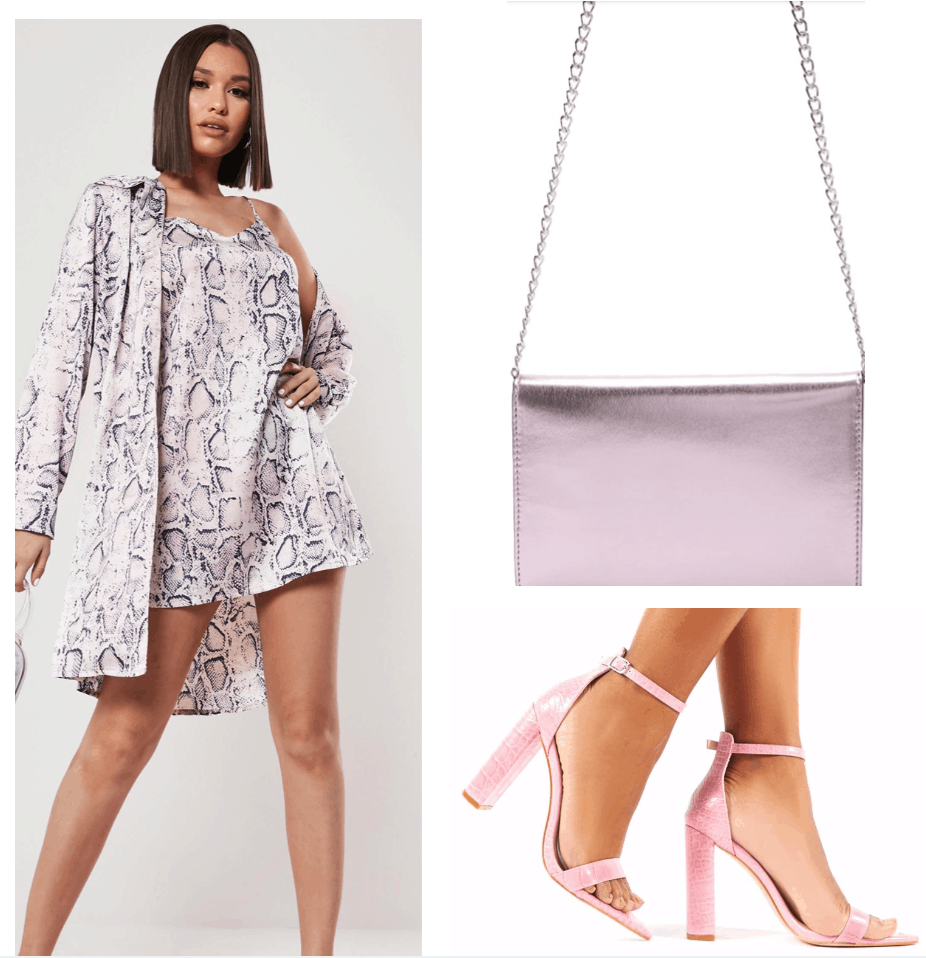 Pink snake print part outfit college fashion