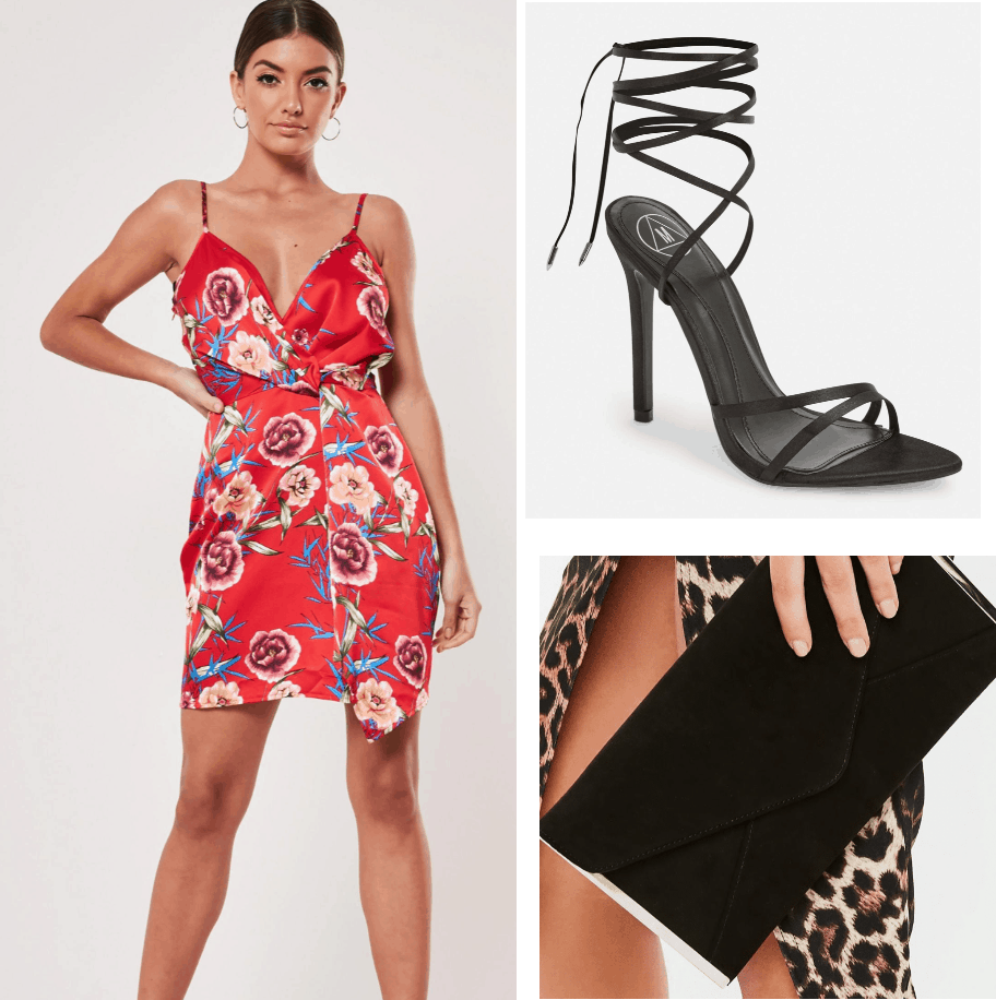 Desna Claws outfit - floral dress, black strappy heels, black clutch