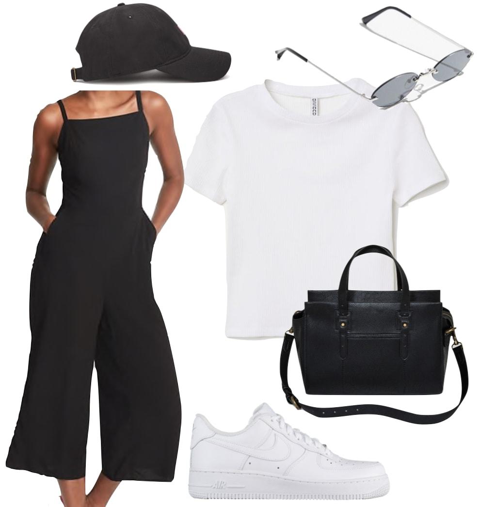 Selena Gomez Outfit: black square neck jumpsuit, white short sleeve t-shirt, black baseball cap, oval rimless sunglasses, black satchel bag, and white low-top sneakers