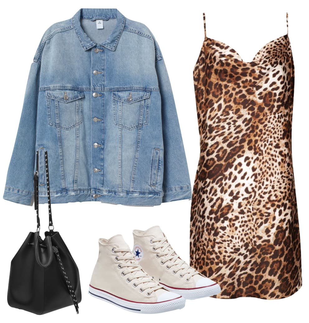 Taylour Paige Outfit: oversized denim jacket, leopard print slip mini dress, small black bucket bag, and ivory Converse All Star high top sneakers
