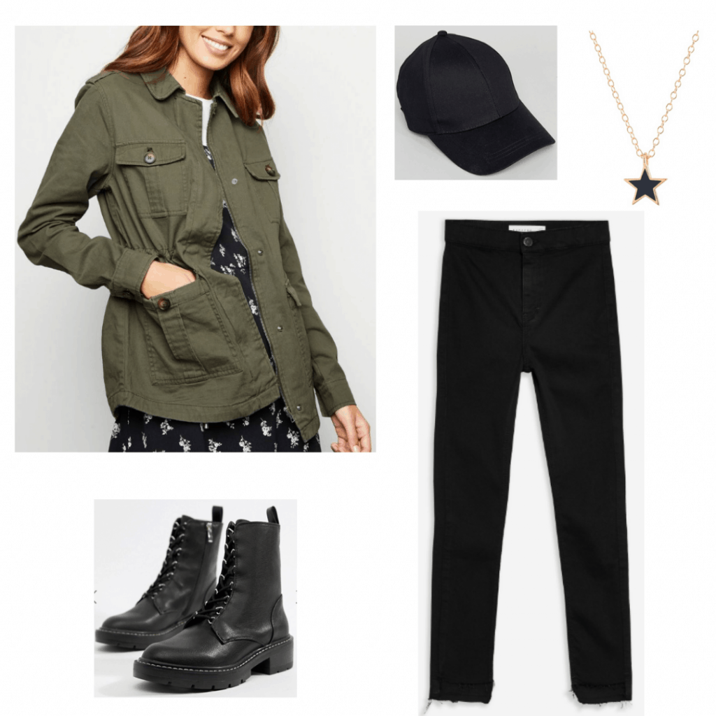 Outfit inspired by Allie from The Society with green jacket, black pants, black boots, black hat and star necklace