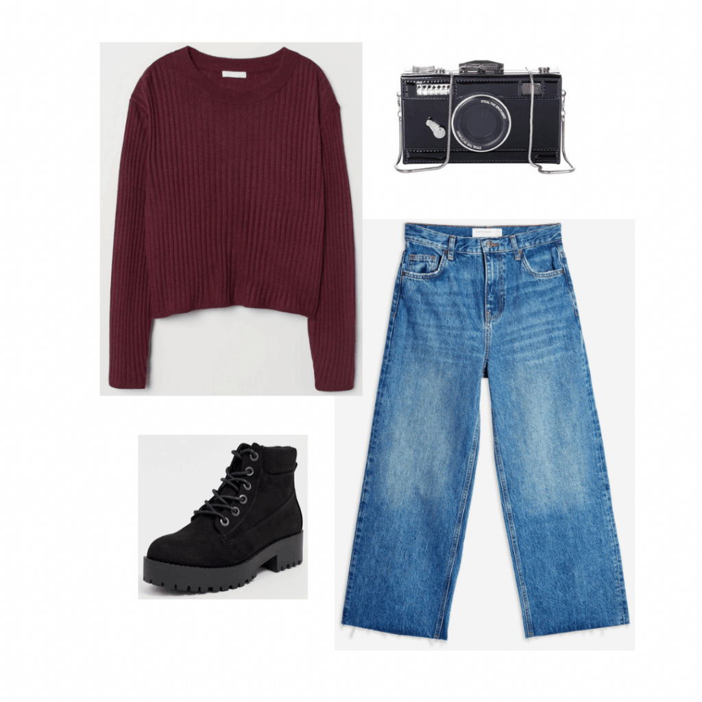 Outfit inspired by Becca from The Society with burgundy sweater, wide leg jeans, lace up boots