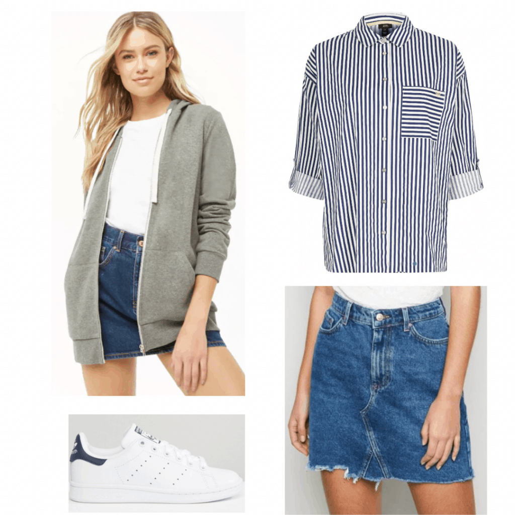 Outfit inspired by Cassandra from The Society with striped shirt, denim skirt, Stan Smiths, gray hoodie