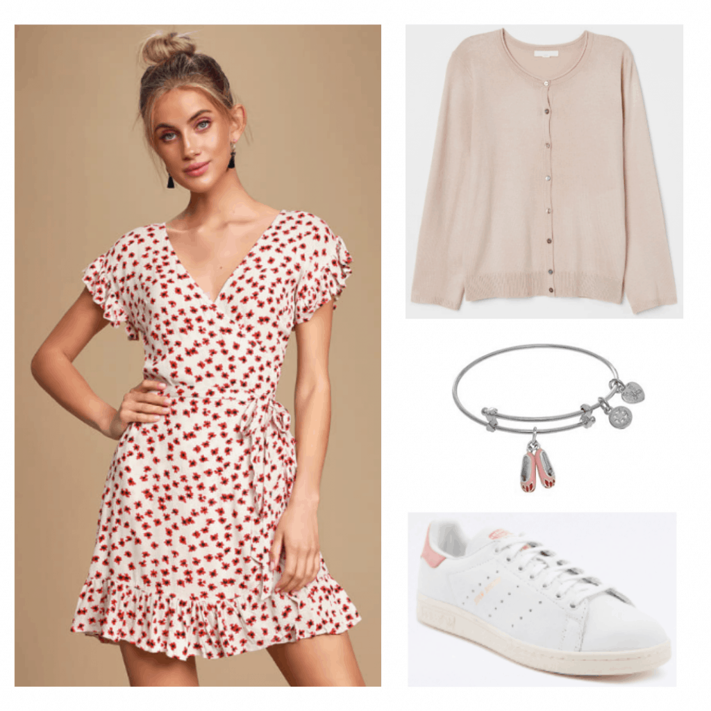Outfit inspired by Elle from The Society with printed dress, pink cardigan, pink and white sneakers, ballerina bracelet
