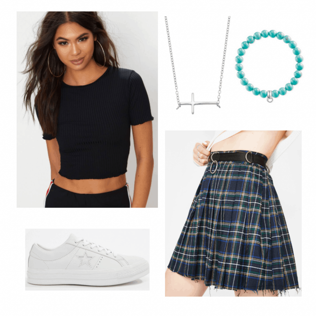 Outfit inspired by Helena from The Society with plaid skirt, white sneakers, black tee, cross necklace
