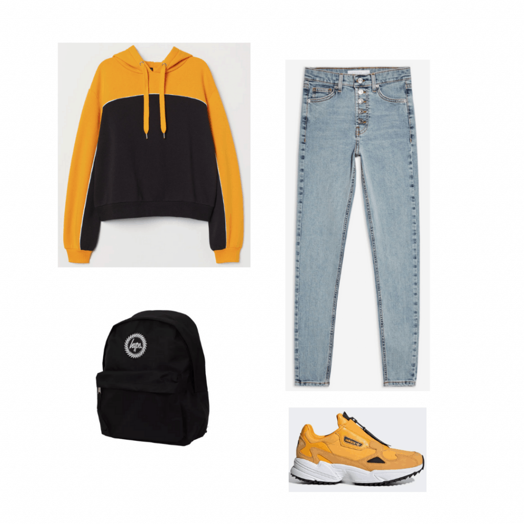 Outfit inspired by The Society with yellow and black hoodie, medium wash jeans, black backpack, yellow sneakers
