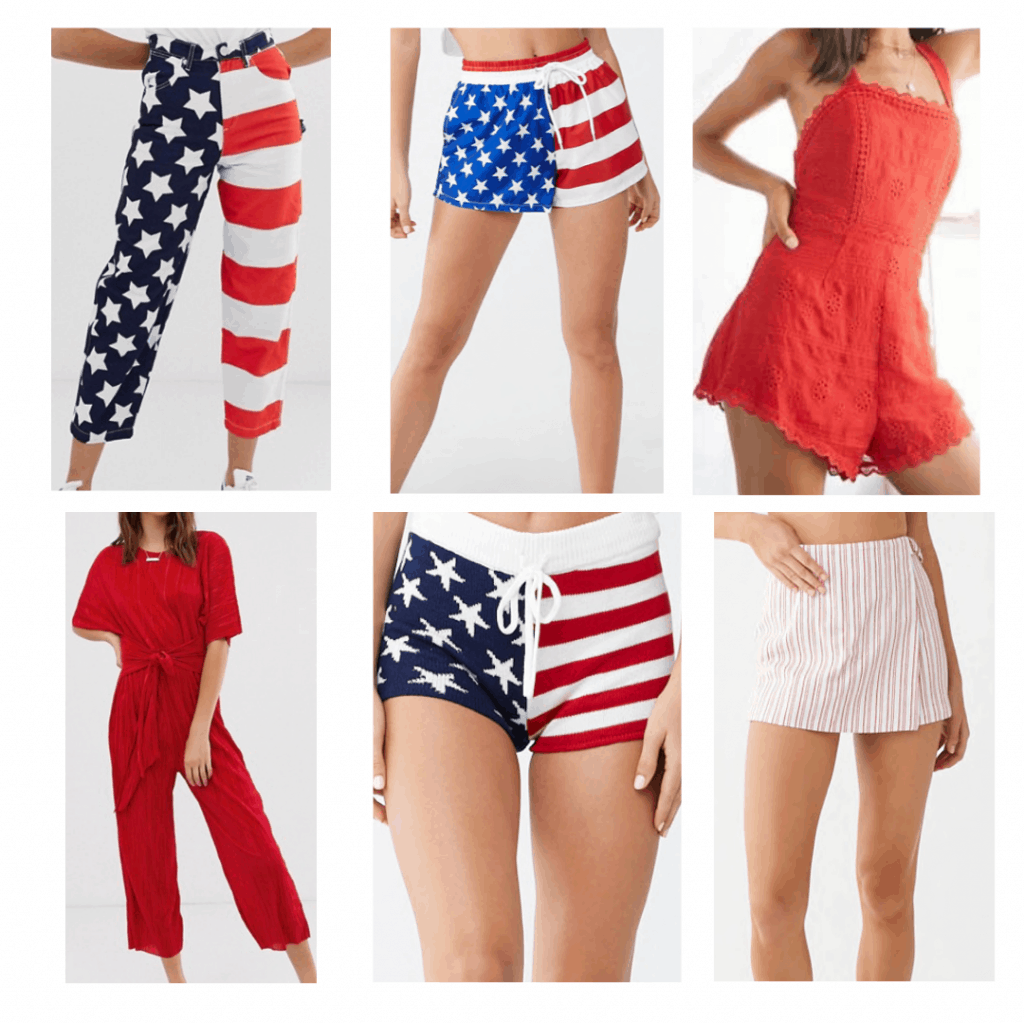 4th of July fashion: flag jeans, flag drawstring shorts, red romper, red jumpsuit, flag knit shorts, red skort