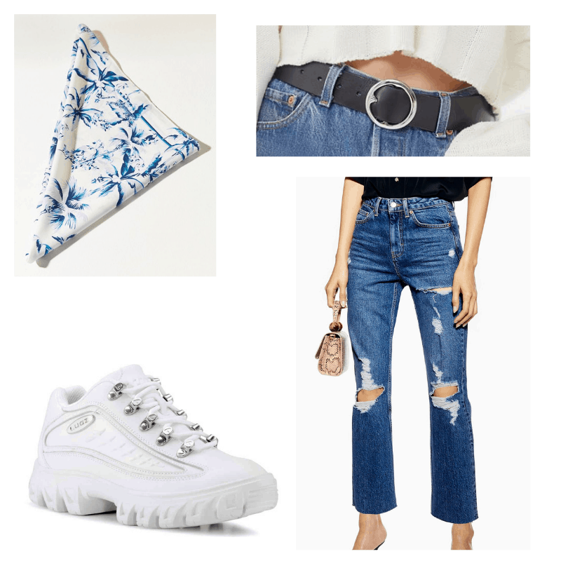 Blue patterned bandana, white dad shoes, black belt, ripped dark wash mom jeans