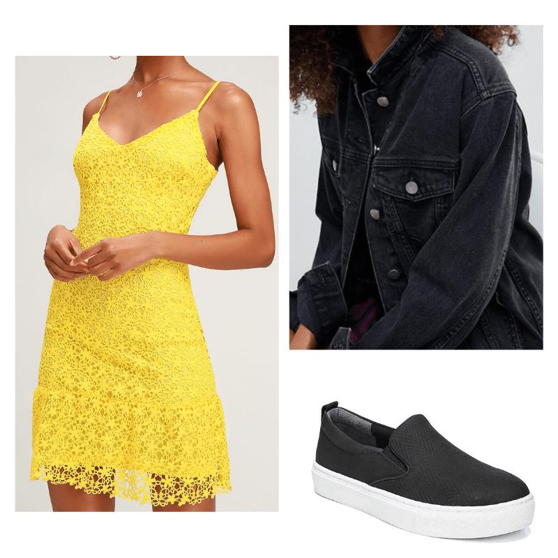 Yellow lace dress, black jean jacket, black slip on shoes