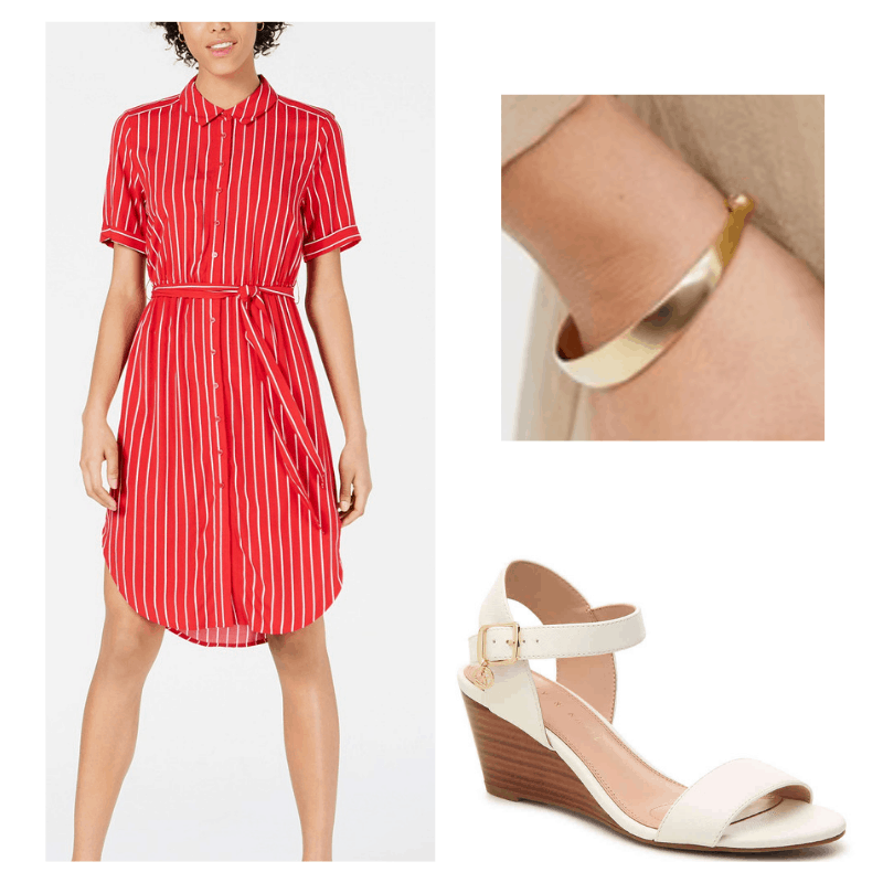 summer work outfit with red pinstripe dress, gold bracelet, and white wedges