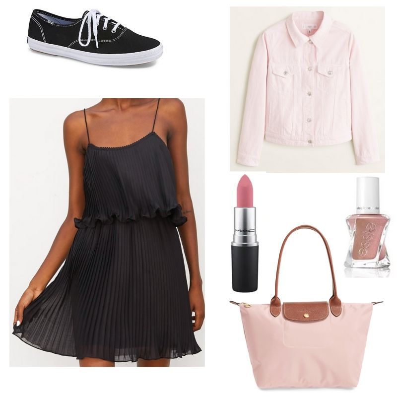 Little black dress from Zara styled into an outfit with black vans sneakers, light pink jacket, light pink tote bag, lipstick, and light pink nail polish